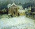 A Plaza in the Snow at Gerberoy - Henri Eugene Augustin Le Sidaner