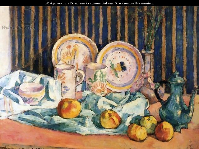 Still Life with Teapot, Apples and Dishes - Emile Bernard