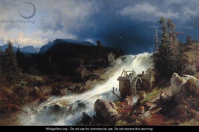 Mountain Landscape with Watermill - Herman Herzog
