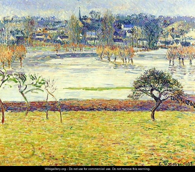 Flood, White Effect, Eragny - Camille Pissarro
