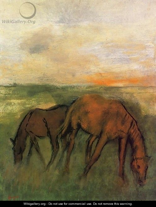 Two Horses in a Pasture - Edgar Degas
