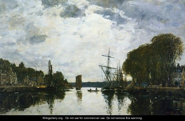 The Port of Landerneau - Finistere - Eugène Boudin
