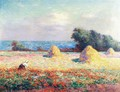 Stacks of Hay and Field of Poppies - Ferdinand Loyen Du Puigaudeau