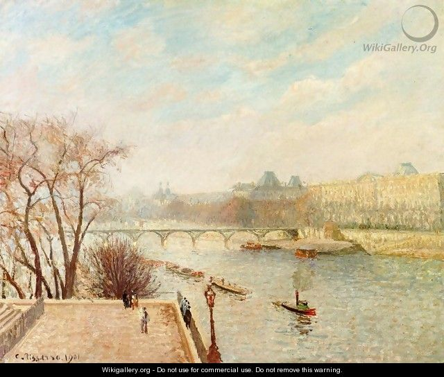 The Louvre, Winter Sunlight, Morning, 2nd Version - Camille Pissarro