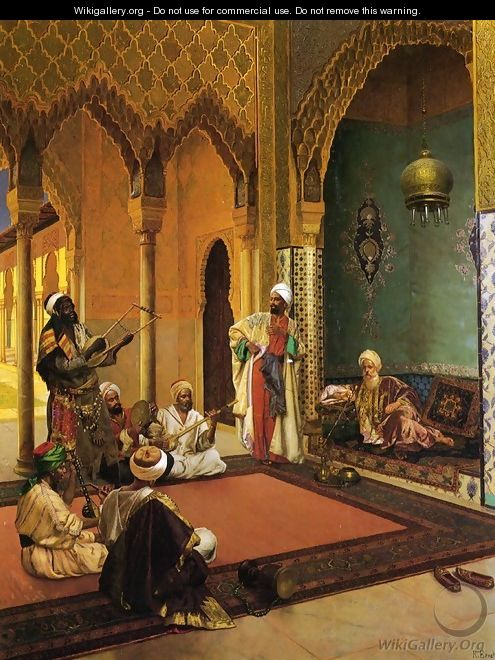 Traveling Musicians Playing for the Sultan - Rudolph Ernst