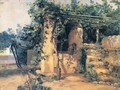 A Vine-Covered Terrace with a Well and a View of the Sea - Johann Baptist Kirner