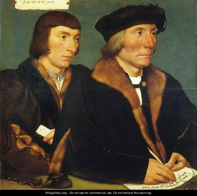 Portrait of Thomas Goldsalve and His Son John - Hans, the Younger Holbein
