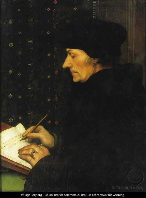 Portrait of Erasmus of Rotterdam Writing I - Hans, the Younger Holbein