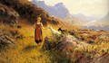 An Alpine Landscapewith a Shepherdess and Goats - Hans Dahl