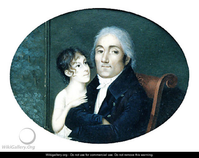 Portrait of a Gentleman and his Daughter - Francois M. Guyol de Guiran