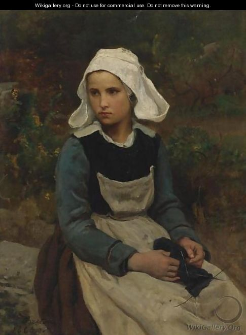 Young Brittany Girl Knitting - Jules (Adolphe Aime Louis) Breton
