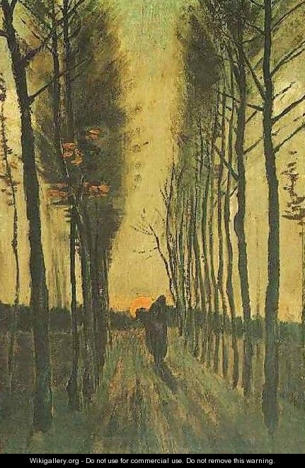 Avenue Of Poplars At Sunset - Vincent Van Gogh