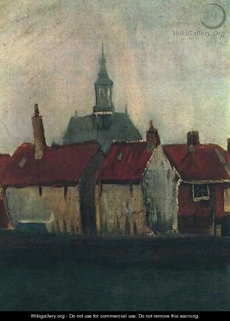 Cluster Of Old Houses With The New Church In The Hague - Vincent Van Gogh