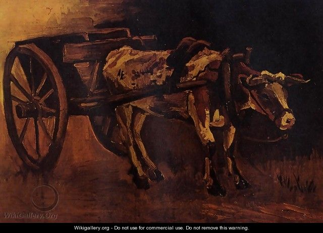 Cart With Red And White Ox - Vincent Van Gogh