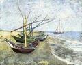 Fishing Boats On The Beach At Saintes Maries - Vincent Van Gogh