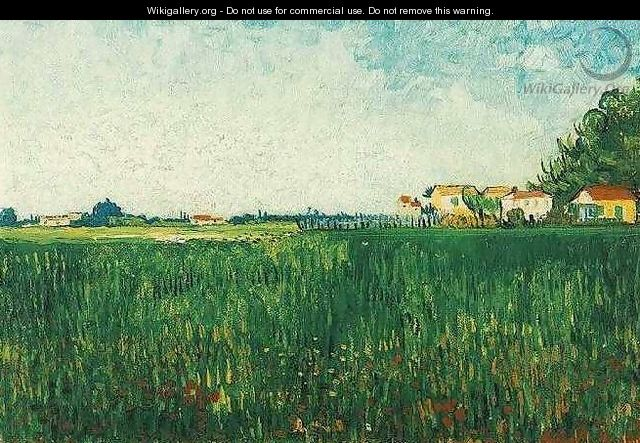Farmhouses In A Wheat Field Near Arles - Vincent Van Gogh