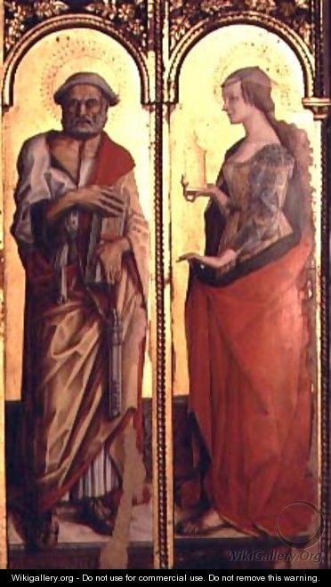 St. Peter and St. Mary Magdalene, detail from the Santa Lucia triptych - Carlo Crivelli