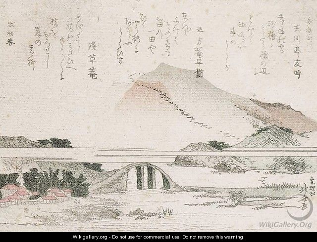 Mountainous Landscape with a Bridge - Katsushika Hokusai