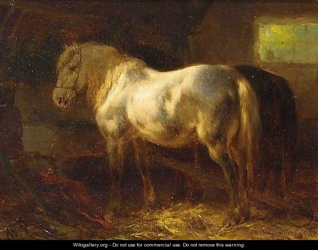 Horses in a Stable - Wouterus Verschuur