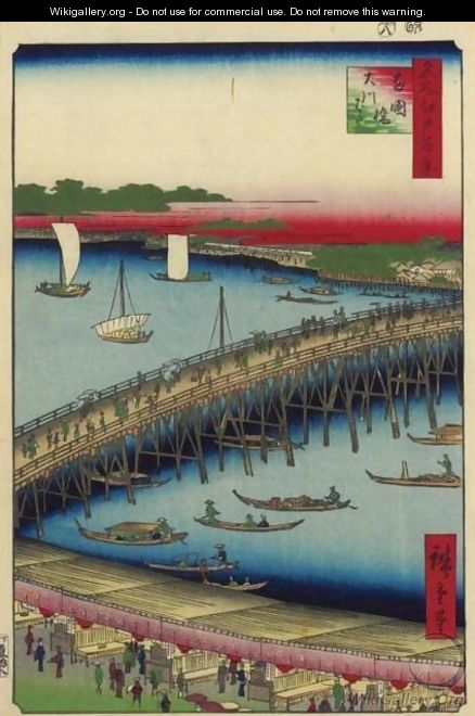 Ryogoku Bridge and the Great Riverbank (Ryogokubashi Okawabata) - Utagawa or Ando Hiroshige