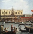 Return of the Bucentoro to the Molo on Ascension Day (detail) 2 - (Giovanni Antonio Canal) Canaletto