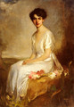 Portrait of an Elegant Young Woman in a White Dress - Artur Lajos Halmi