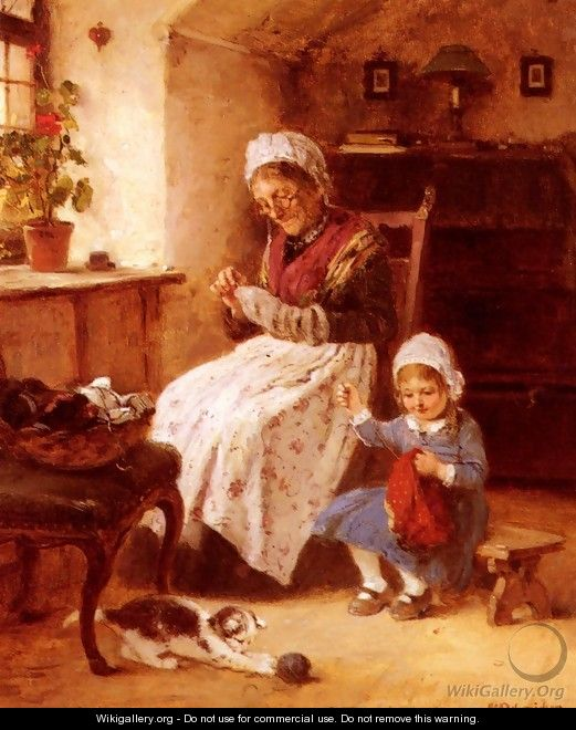 The Sewing Lesson - Hugo Oehmichen