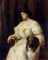 Portrait of a lady with her collie, seated, three-quarter length - Heywood Hardy
