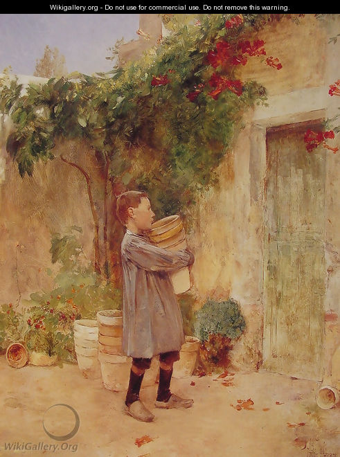 Boy with Flower Pots - Childe Hassam