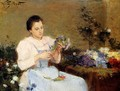 Arranging Flowers For A Spring Bouquet - Victor-Gabriel Gilbert