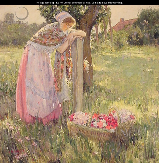 Resting by a Basket of Flowers - Myron G. Barlow