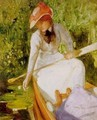 A quiet cove, girl canoeing - Arthur Hacker
