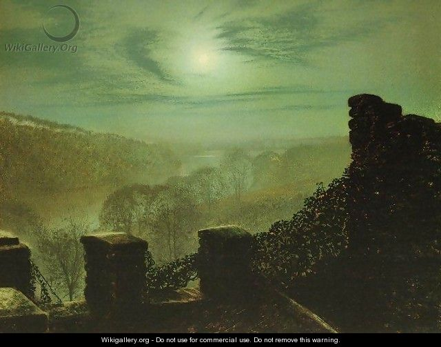Full Moon behind Cirrus Cloud from the Roundhay Park Castle Battlements - John Atkinson Grimshaw