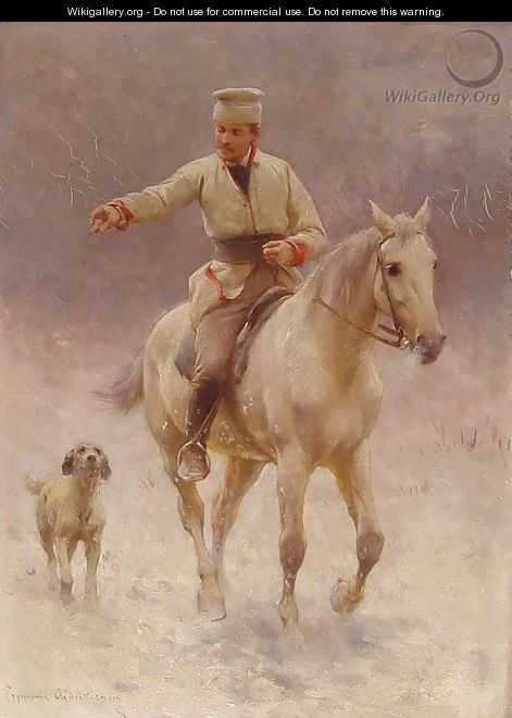 Rider on Horseback with a Dog in Winter - Sigismund Ajdukiewicz