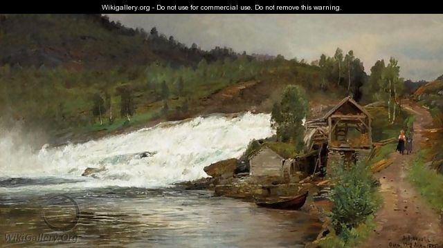 Waterfall at Osen (Foss ved Osen) - Anders Monsen Askevold