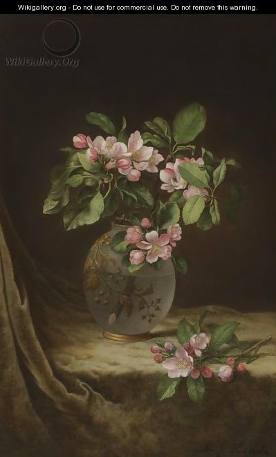 Apple Blossoms in an Opalescent Vase - Martin Johnson Heade
