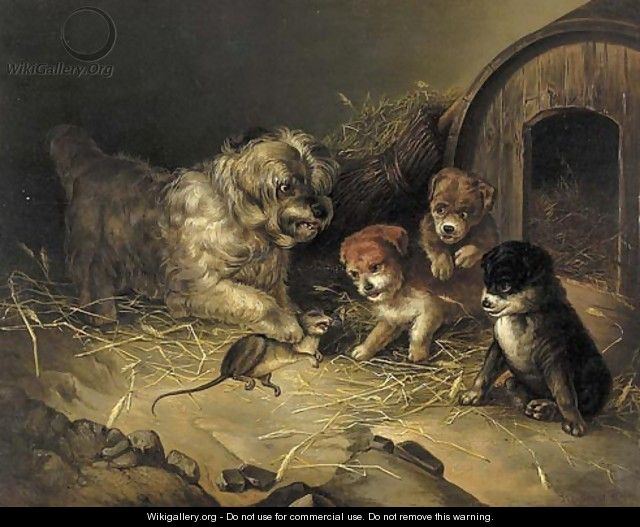 Rat wit a Dog and Three Puppies - Aleksander Stankiewicz