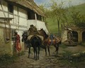 Riders Before a Cottage - Wladyslaw Szerner