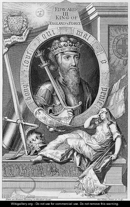 Edward III 1312-77 King of England from 1327, after a painting in Windsor Castle, engraved by the artist - George Vertue