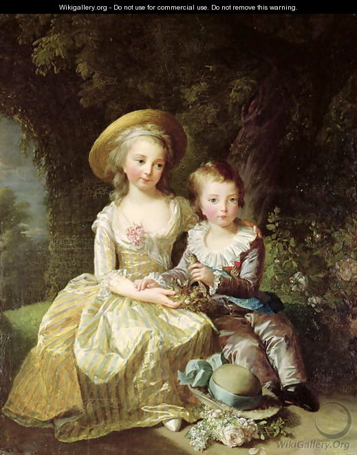 Child portraits of Marie-Therese-Charlotte of France 1778-1851, future Duchess of Angouleme, and Louis-Joseph-Xavier of France 1781-89 Premier Dauphin, 1784 - Elisabeth Vigee-Lebrun