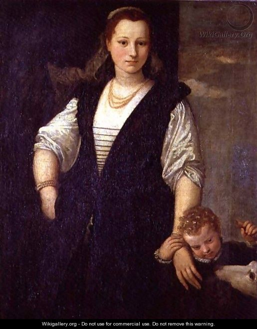 Portrait of a Woman with a Child and a Dog - Paolo Veronese (Caliari)