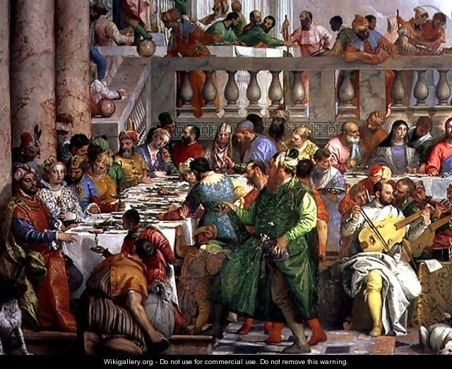 The Marriage Feast at Cana, detail of banqueting table with man in a green robe and dwarf with a parrot, c.1562 - Paolo Veronese (Caliari)