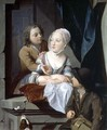 Lovers at a window - Nicolaes Verkolje