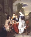 Elegant Company playing backgammon - Nicolaes Verkolje