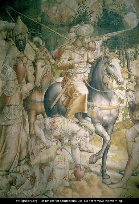 Campaign of Emperor Charles V against the Turks at Tunis in 1535 the defeat of the Turks at the battle of Goletta, detail of cavalrymen quenching their thirst, cartoon for a tapestry - Jan Cornelisz Vermeyen