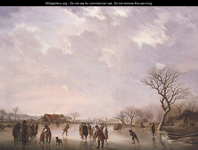 Winter Scene with Hockey Players and Other Figures - Andries Vermeulen