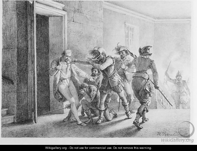 The Assassination of Wallenstein , lithograph by Gottfried Engelmann - Horace Vernet