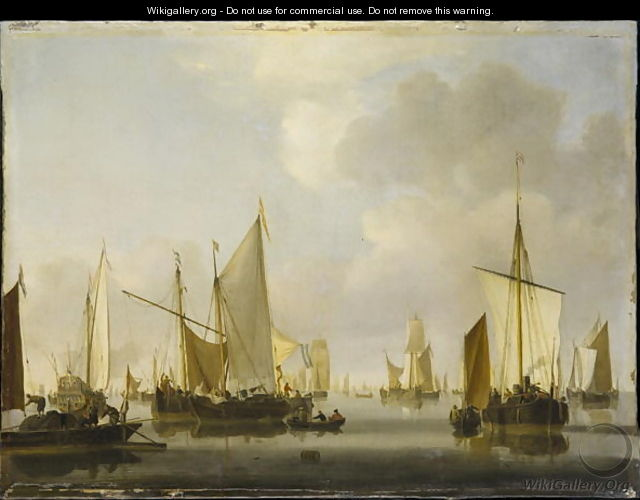 Fishing Boats in a Calm - Willem van de, the Younger Velde