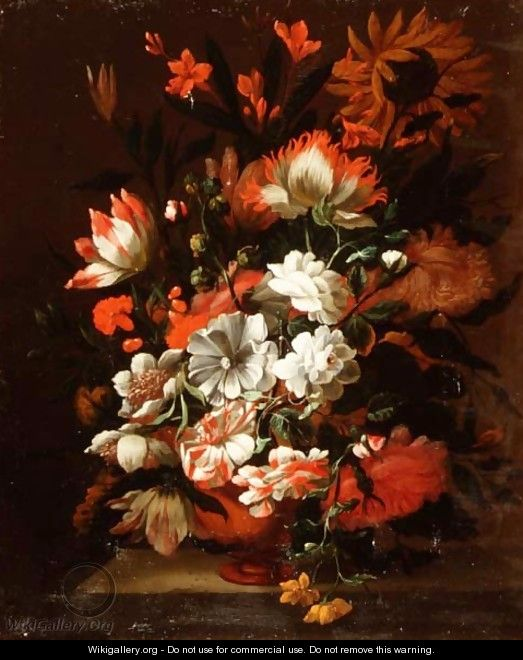 Tulips, carnations, sunflowers and other flowers in an urn on a stone ledge - Simon Pietersz. Verelst
