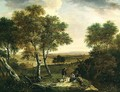 An extensive wooded landscape with peasants by a path, a town beyond - Dionys Verburgh